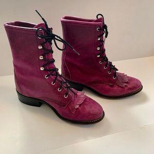 Women's Purple Leather Laredo Boots Sz 6 1/2